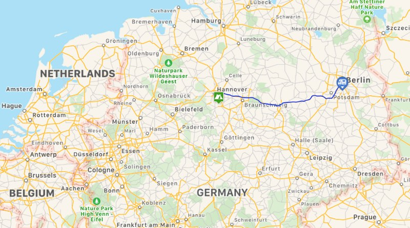 Motorhome road trip holiday to Berlin Germany. Route