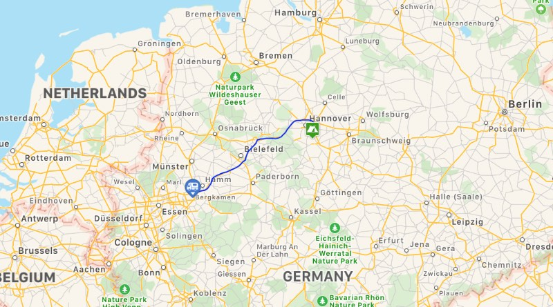 Motorhome holiday road trip to Camping Birkensee near the town of Laatzen