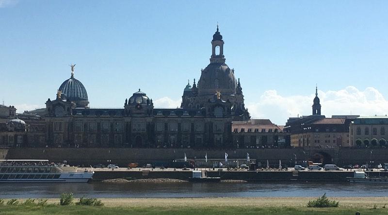 Motorhome holiday road trip Dresden. Stellplatz overlooks the river Elbe