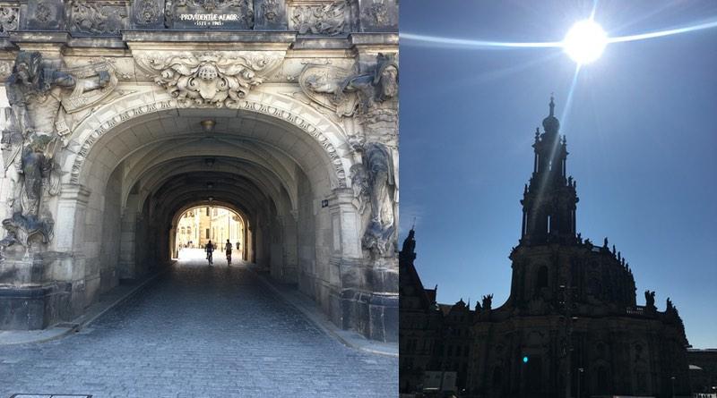 Motorhome holiday road trip Dresden. Schlossplatz and Hofkirche Dresden