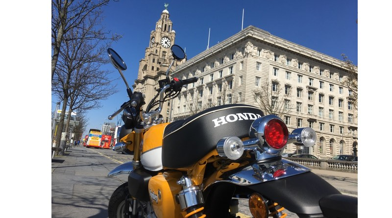 Monkey bike at pier head Liverpool