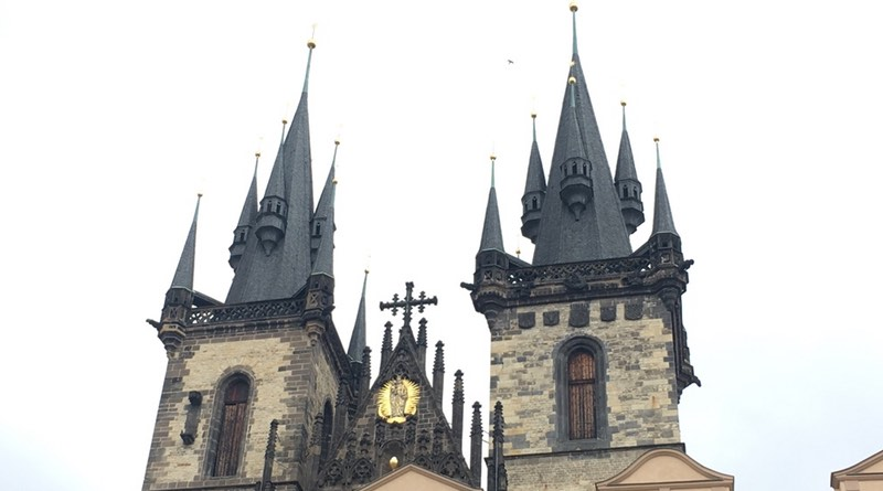 Motorhome road trip holiday route to Prague. Spires of Old Town Square Prague