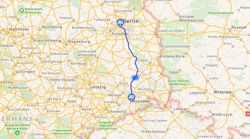 Motorhome holiday road trip route Dresden.