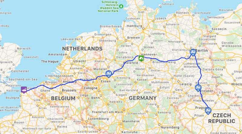 Motorhome road trip holiday route to Prague.
