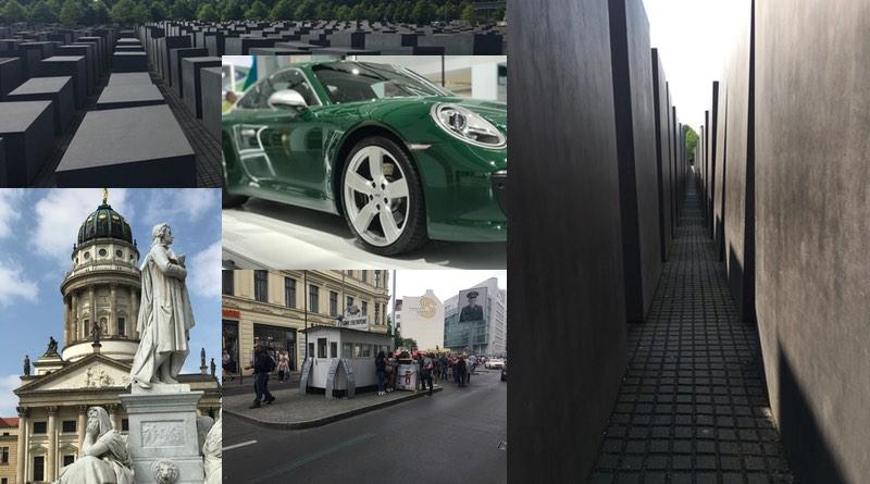 Motorhome road trip holiday to Berlin Germany. Holocaust memorial, Gendarmenmarkt, Checkpoint Charlie, Car Museum