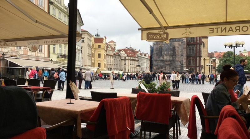 Motorhome road trip holiday route to Prague. Lunch in Old Town Square