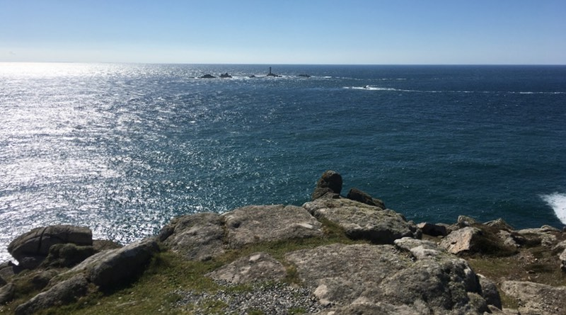 Lands End Cornwall, looking out over the ocean. Motorhome holiday road trip