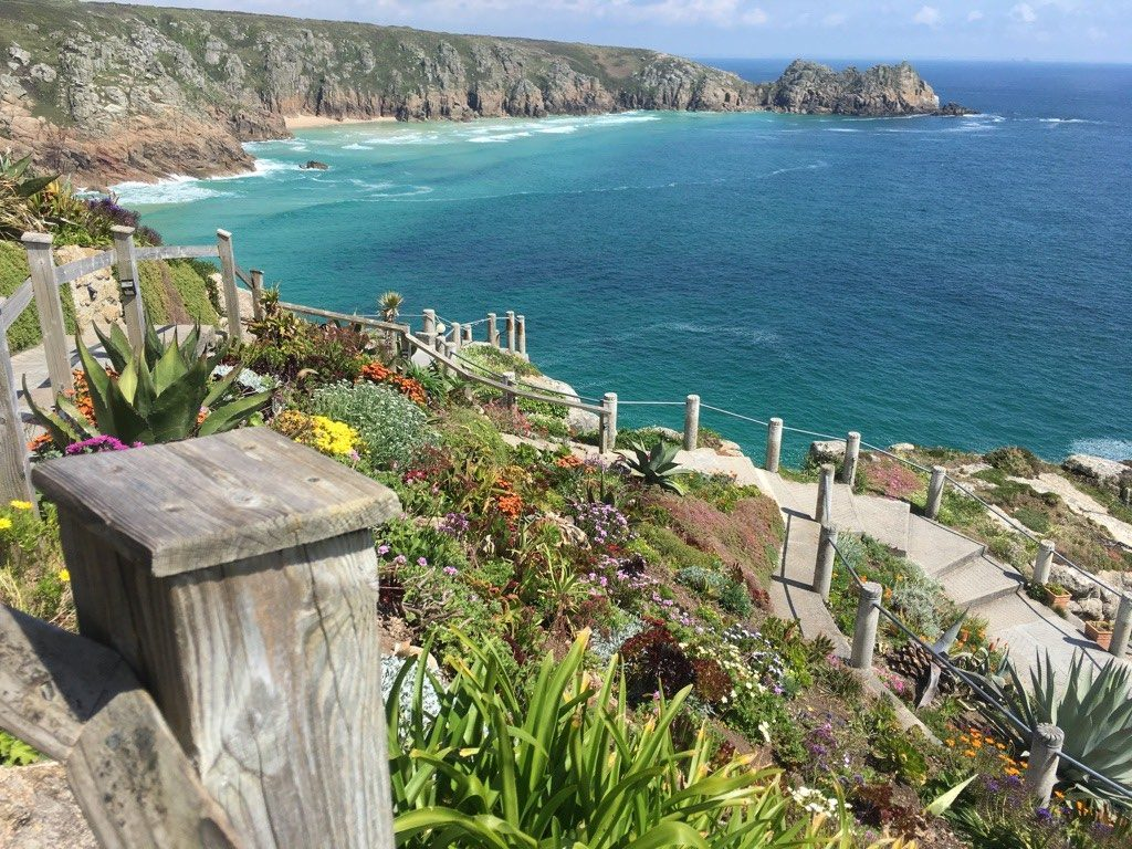 Minack Theatre, Porthcurno, Penzance, Cornwall provides stunning views over the ocean