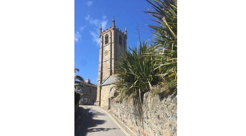 Church at St Ives, Cornwall. Motorhome holiday road trip.
