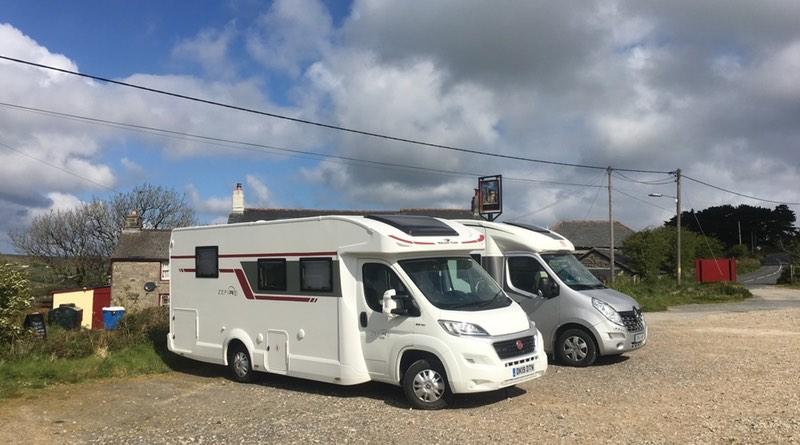 Motorhomes parked at The Engine Inn, Cripplesease, Cornwall. Motorhome holiday road trip.