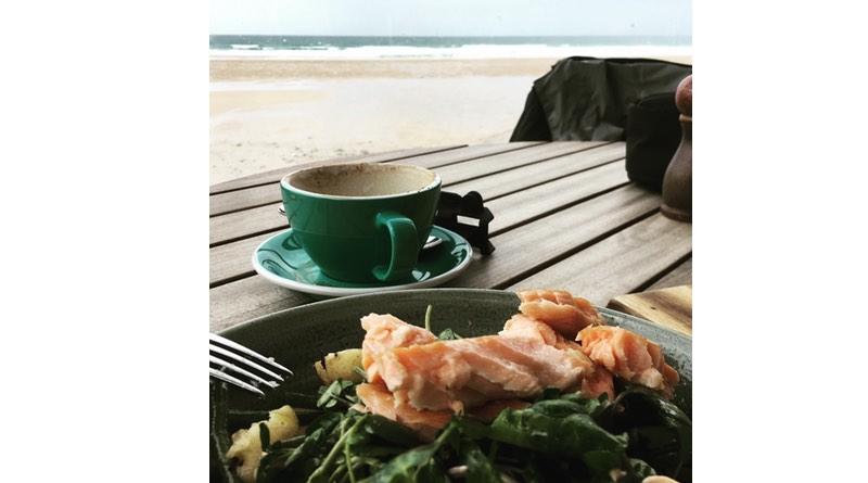 Watergate Bay, Newquay, Cornwall. seafood salad.