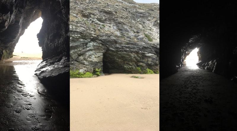 Watergate Bay, Newquay, Cornwall exploring caves