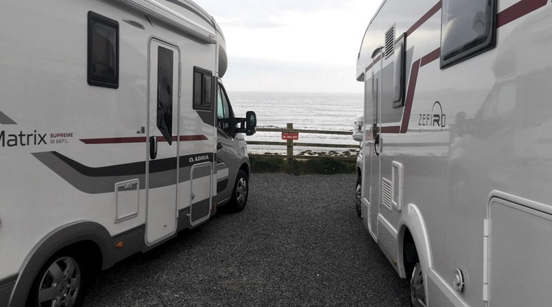 Motorhome parking at Praa Sands is located half way between the towns of Penzance and Helston Cornwall